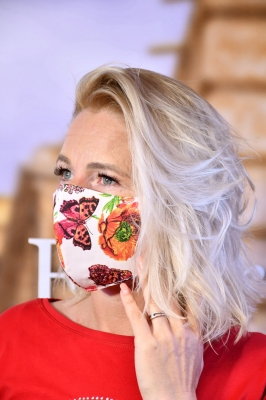 Mundmaske K - Floral in White